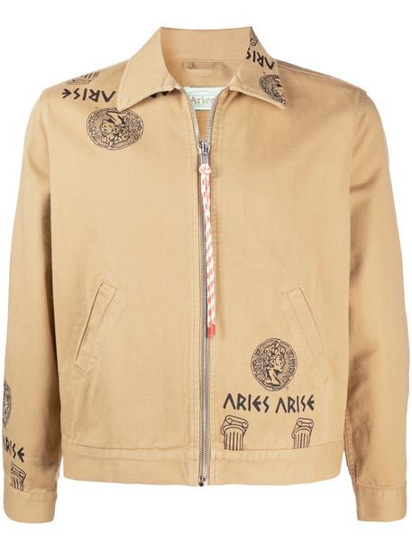 Aries Temple print zipped denim jacket in neutrals