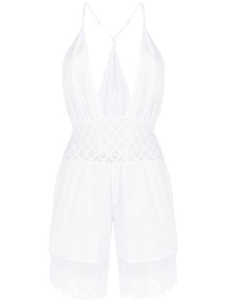 La Perla cut out-detail playsuit - White