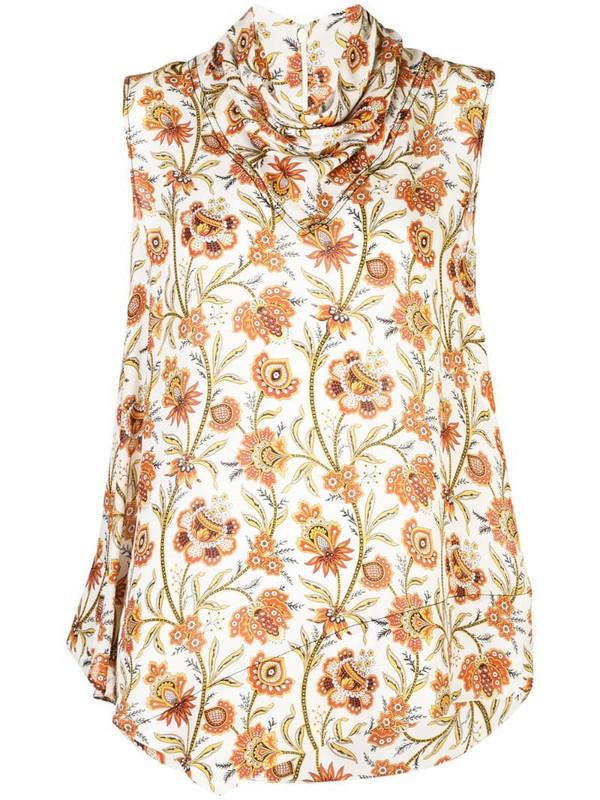 Derek Lam floral print scarf neck handkerchief blouse in white