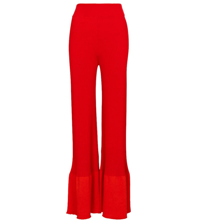 Stella McCartney High-rise wide-leg knit pants in red