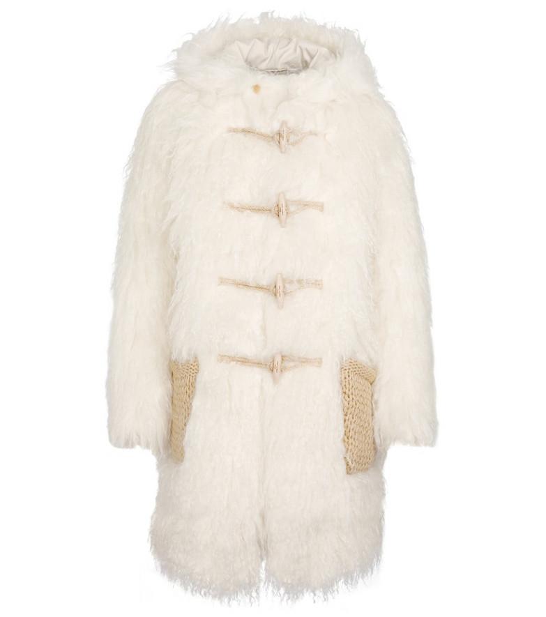 Saint Laurent Faux fur duffle coat in white