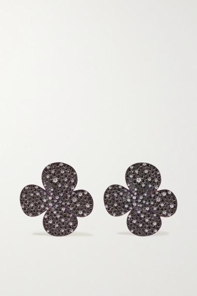 G by Glenn Spiro - Clover Titanium Diamond Earrings - Black