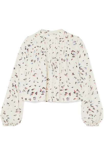GANNI - Cropped Pintucked Floral-print Crepe Blouse - White