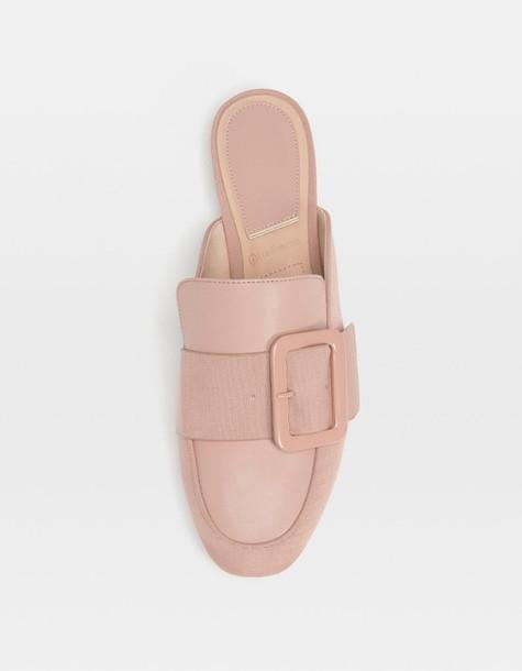 Stradivarius Beige Mule Loafers With Buckle In Nude