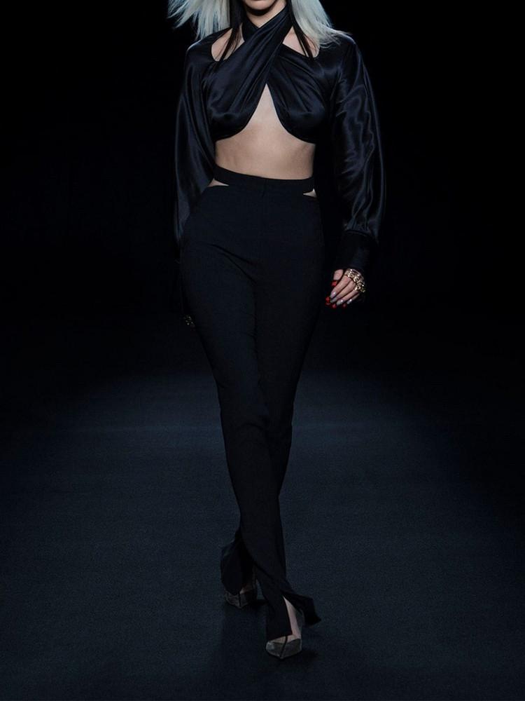 MUGLER Sheer Jersey Skinny Pants in black