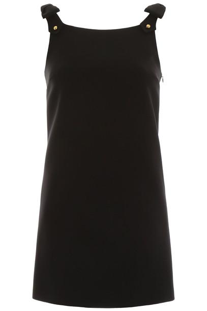 Miu Miu Mini Dress With Studded Bows in black