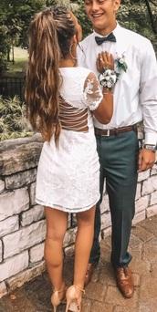 dress,white,summer dress,homecoming dress