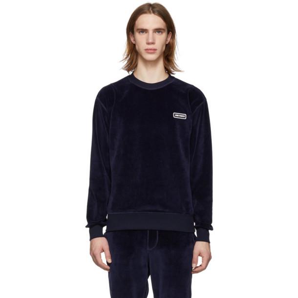 AMI Alexandre Mattiussi Navy Velvet Sweater