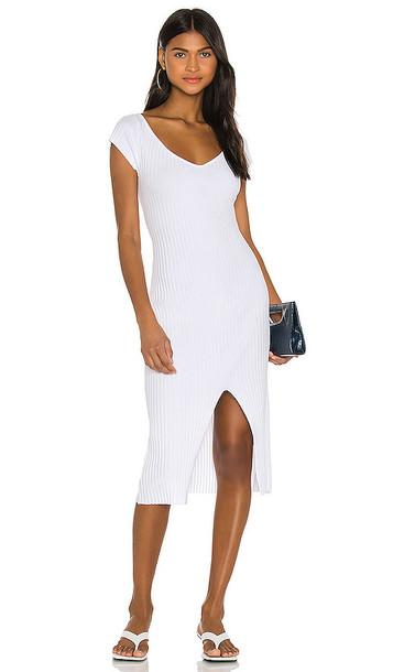 Enza Costa Rib Sweater Knit Soft V Cap Sleeve Midi Dress in White