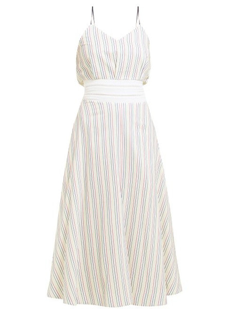 Zeus + Dione Zeus + Dione - Aeolia Striped Cotton Midi Dress - Womens - White