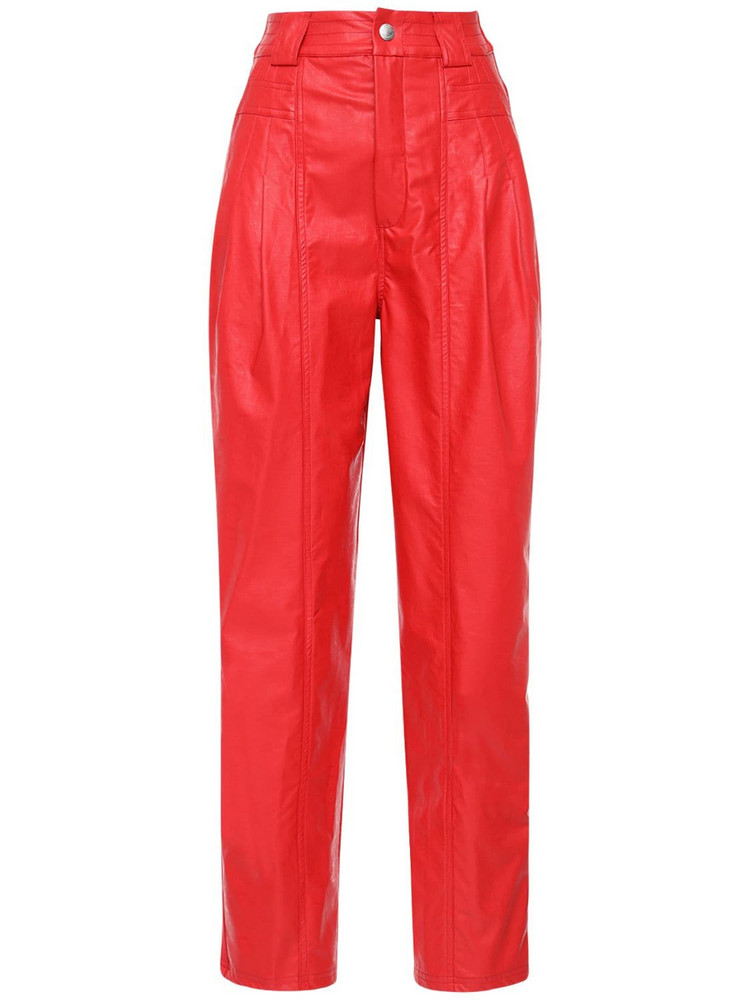 KOCHE' High Waist Faux Leather Pants in red
