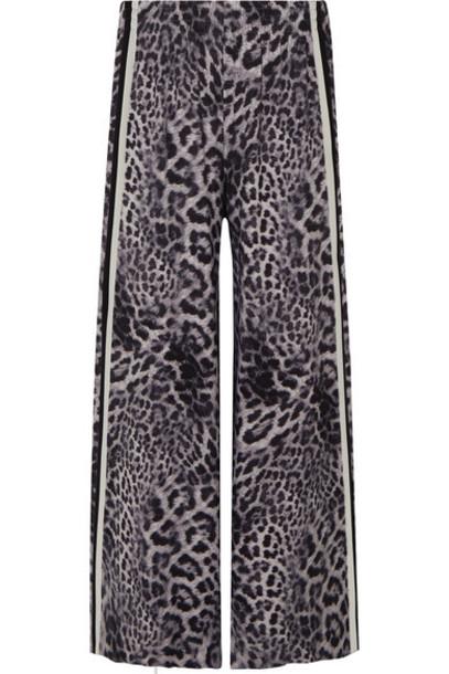 Norma Kamali - Elephant Striped Leopard-print Stretch-jersey Wide-leg Pants - Gray