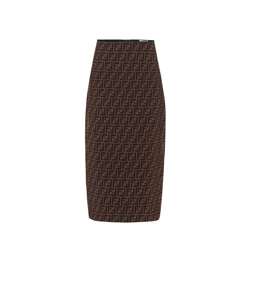 Fendi FF micromesh midi skirt in brown