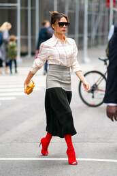 top,red boots,celebrity,spring outfits,midi skirt,shirt,victoria beckham