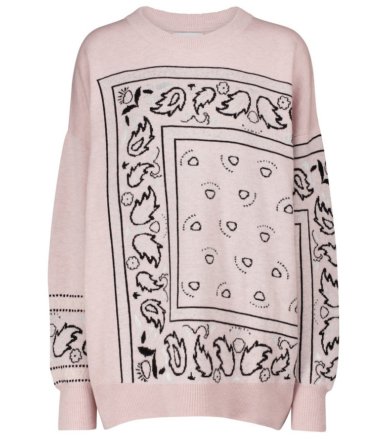 Barrie Exclusive to Mytheresa – Bandana-print cashmere-blend sweater in pink