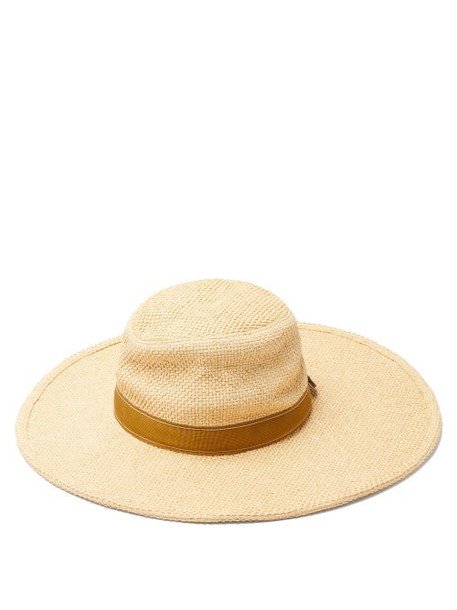 Chloé Chloé - Leather-trimmed Woven Hat - Womens - Beige