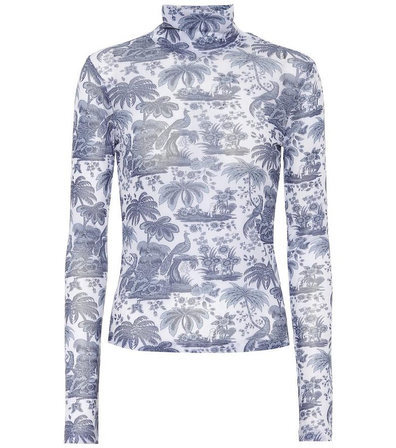 Staud Mick printed turtleneck top in blue