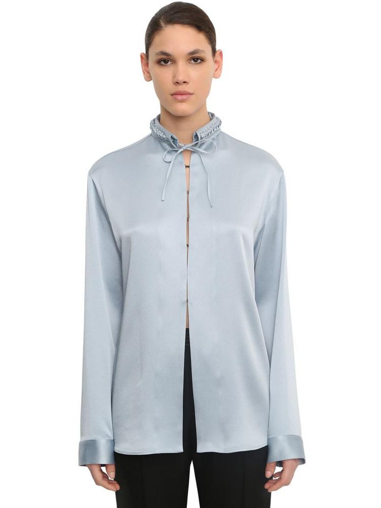 HAIDER ACKERMANN Braided Collar Viscose Blend Shirt in blue
