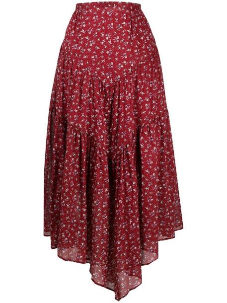 Isabel Marant Étoile Pabna asymmetric cotton skirt in red