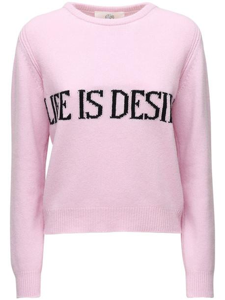 ALBERTA FERRETTI Knit Intarsia Cashmere & Wool Sweater in black / pink