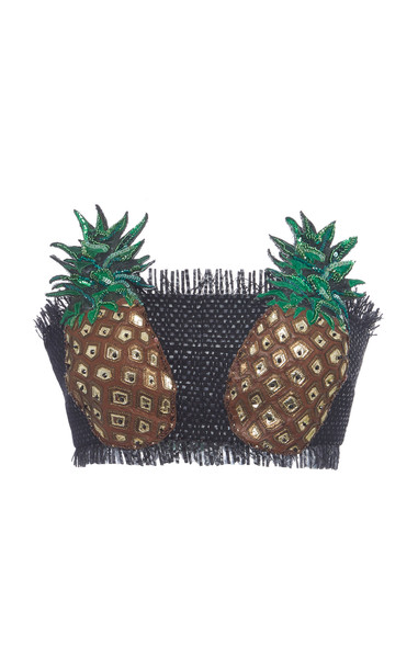 Dolce & Gabbana Embellished Woven Cropped Top Size: 36 in black