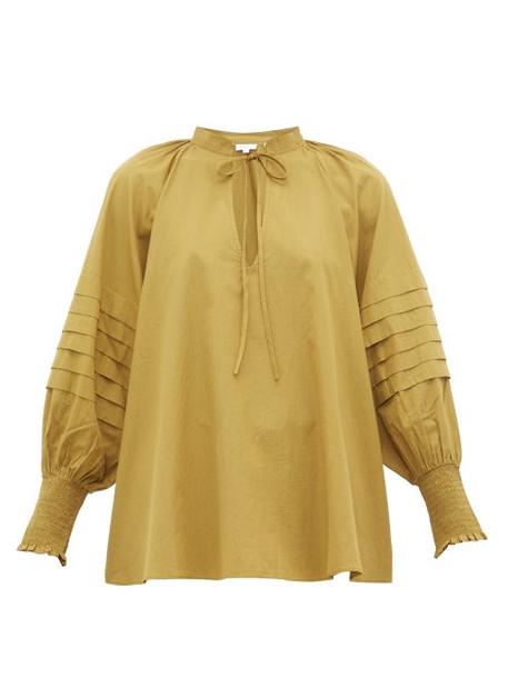Rhode - Sage Balloon Sleeve Cotton Blouse - Womens - Khaki