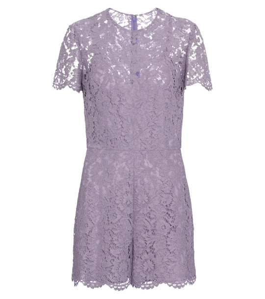 Valentino floral-lace playsuit in purple