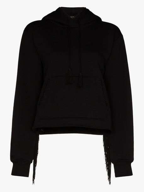 AMIRI fringed cotton hoodie in black