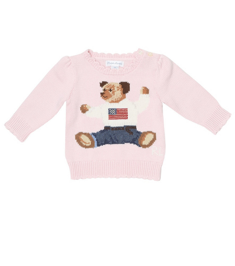 Polo Ralph Lauren Kids Baby Polo Bear intarsia cotton sweater in pink