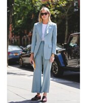 jacket,blazer,cropped pants,mules,flare pants,white t-shirt