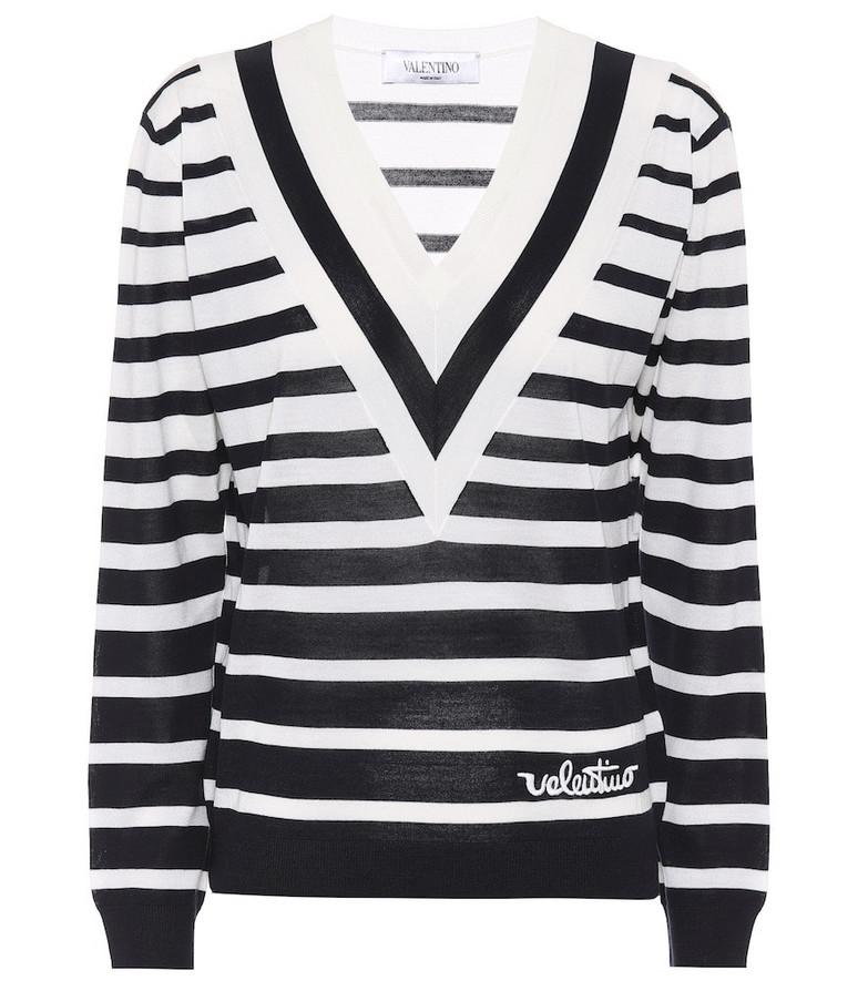 Valentino Striped virgin wool sweater in blue