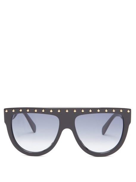 Celine Eyewear - Shadow D Frame Avaiator Acetate Sunglasses - Womens - Black