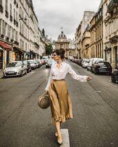 skirt,pleated skirt,midi skirt,white blouse,mules,round bag