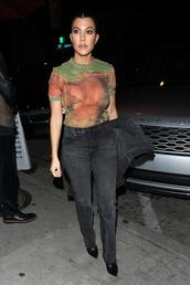 top,kourtney kardashian,mesh,see through,celebrity,jeans