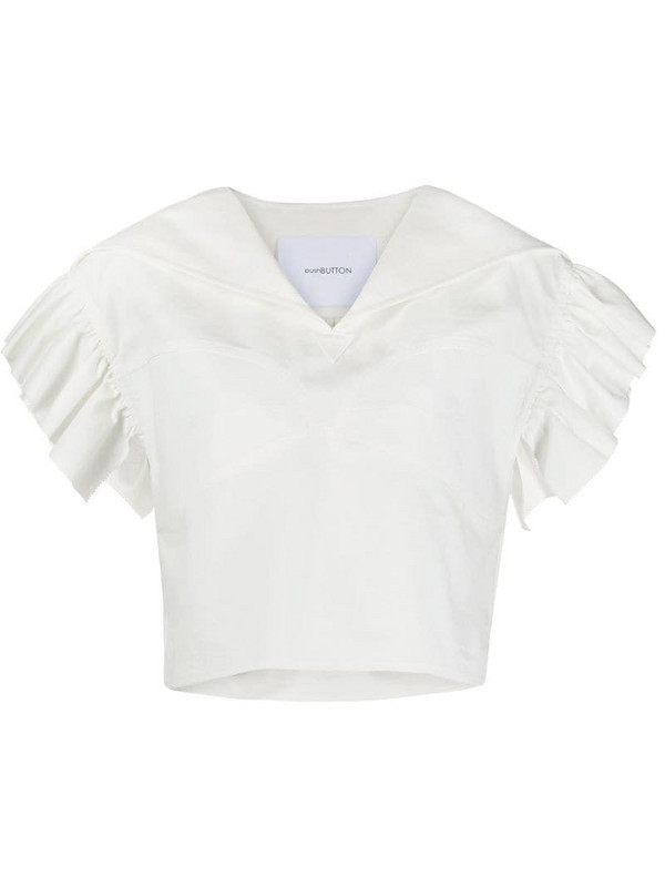 pushBUTTON cropped short-sleeve blouse in white