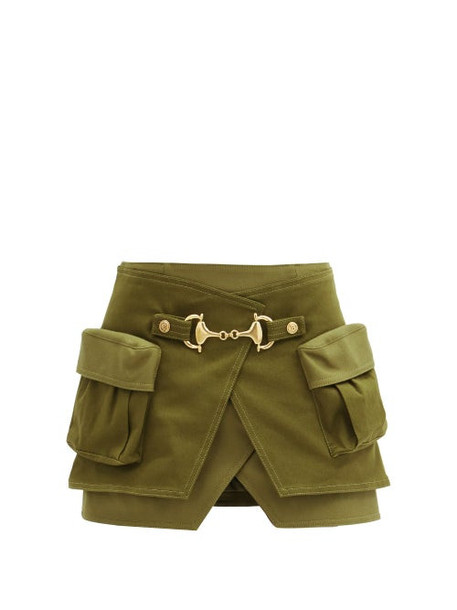 Balmain - Horsebit Cotton-blend And Wool-panel Wrap Skirt - Womens - Khaki