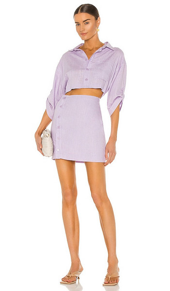 Bardot The Mini Shirt Dress in Lavender in lilac