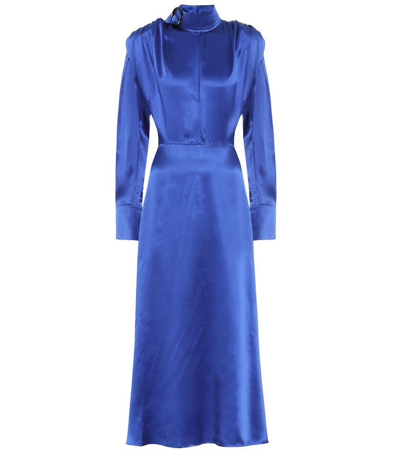 Matériel Tbilisi Silk-satin midi dress in blue