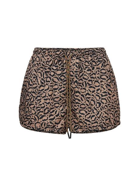 THE UPSIDE Efrem Leopard Print High Waist Shorts in black / brown