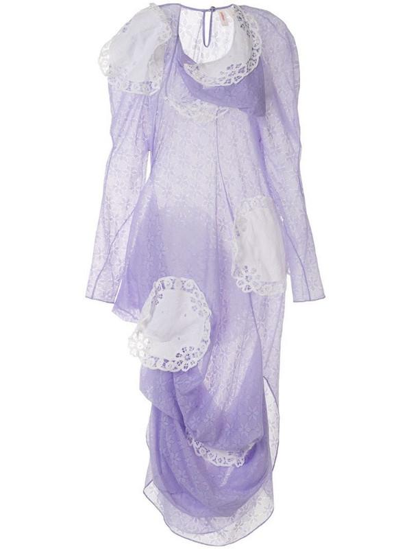 yuhan wang doily appliqué floral print dress in purple