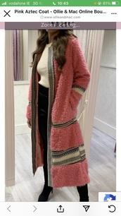 coat,pink coatigan long aztec