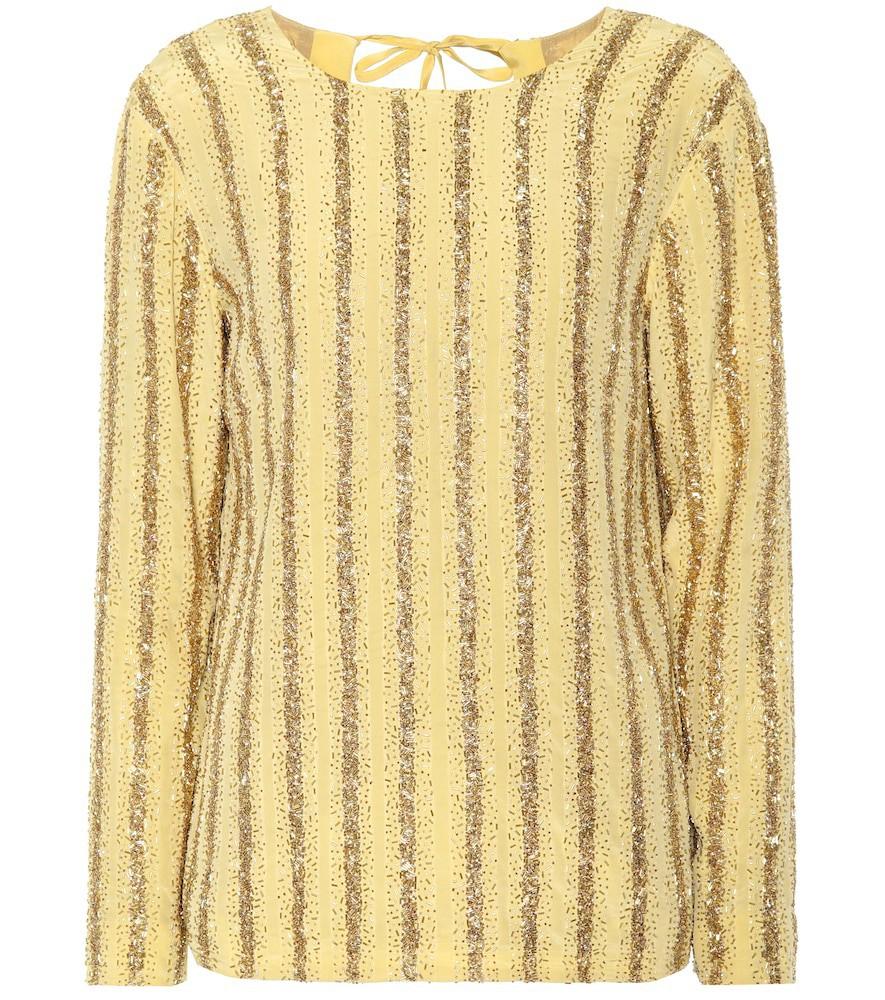 Dries Van Noten Beaded stripe silk top in yellow