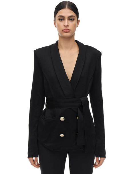 BALMAIN Oversize Double Breasted Jacket W/ Belt in black