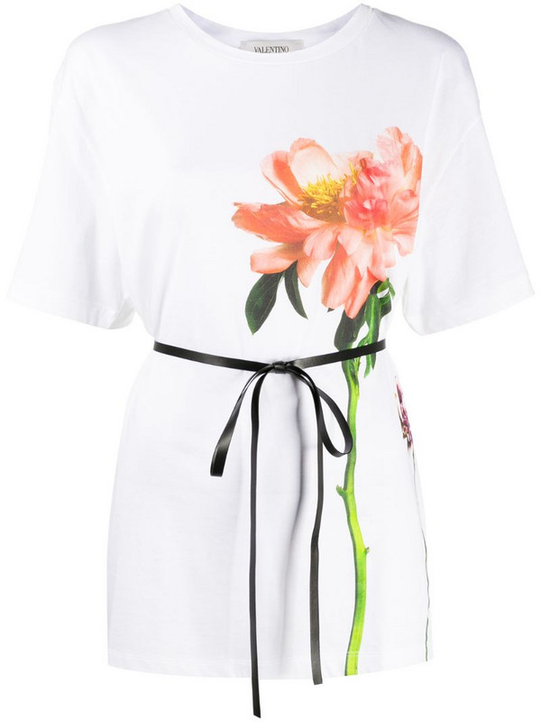 Valentino flower print cotton T-shirt in white