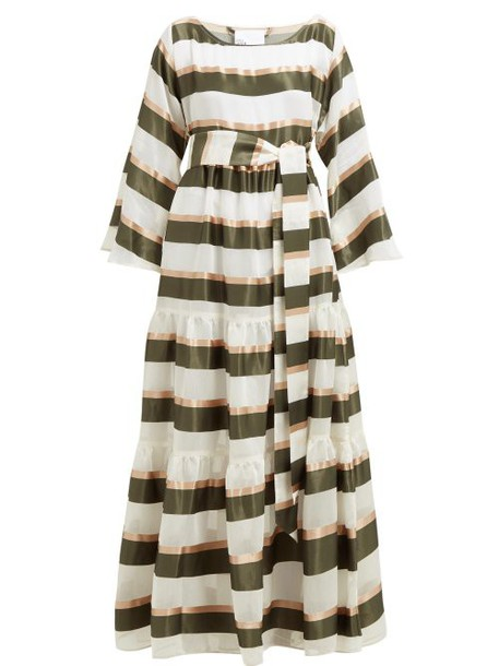 Lisa Marie Fernandez - Tiered Striped Voile Maxi Dress - Womens - Green White