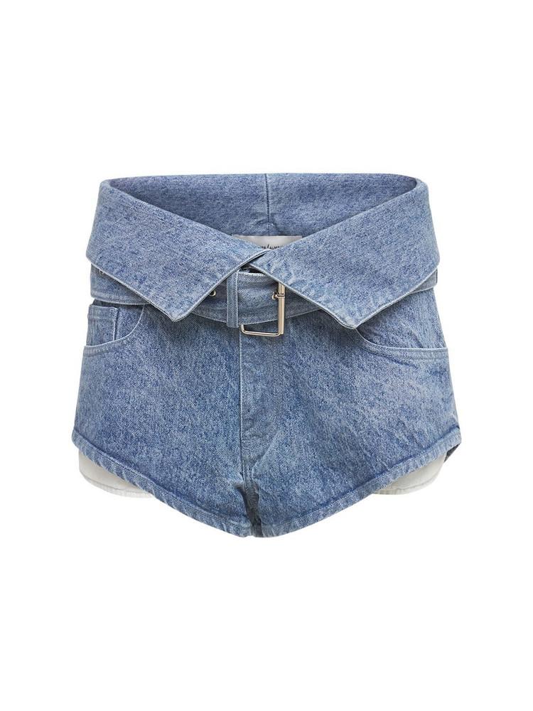 MARQUES'ALMEIDA Organic Cotton Denim Mini Belted Shorts in blue
