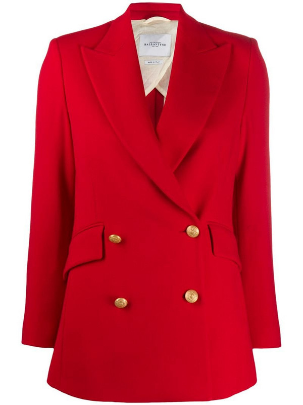 Ballantyne fitted double breasted blazer in red