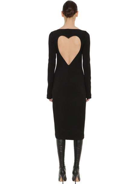 ROCHAS Stretch Virgin Wool Crepe Midi Dress in black