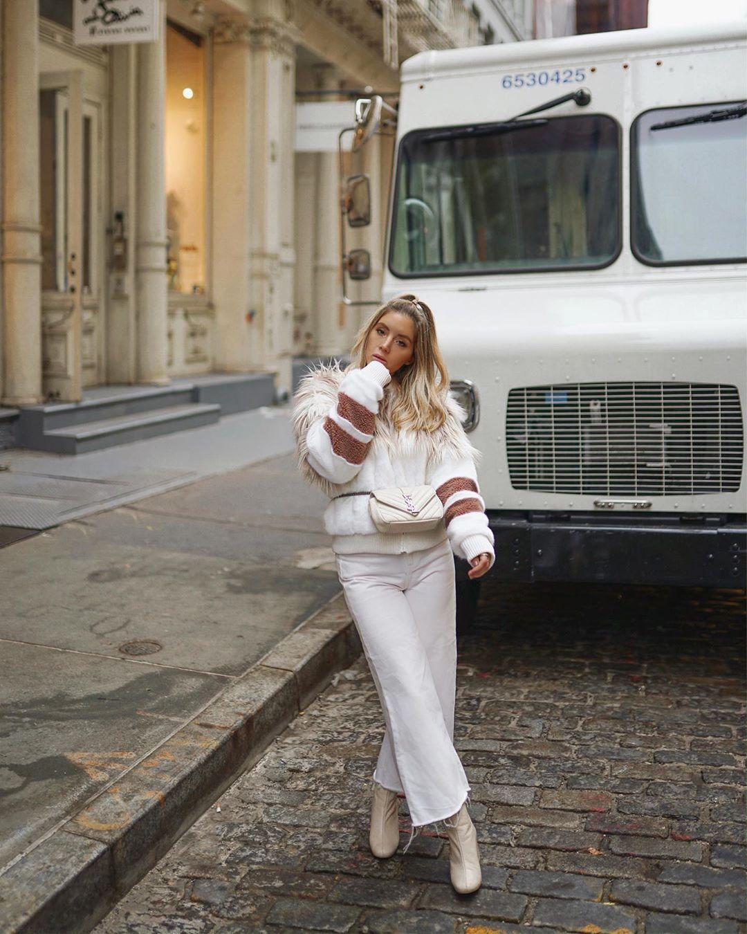 jacket faux fur jacket boots wide-leg pants white pants white bag