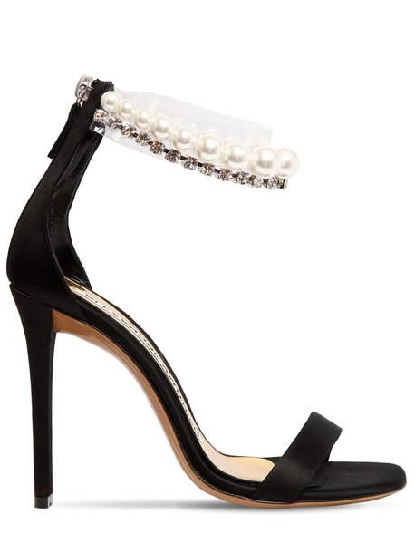 ALEXANDRE VAUTHIER 105mm Roro Satin & Pearl Sandals in black